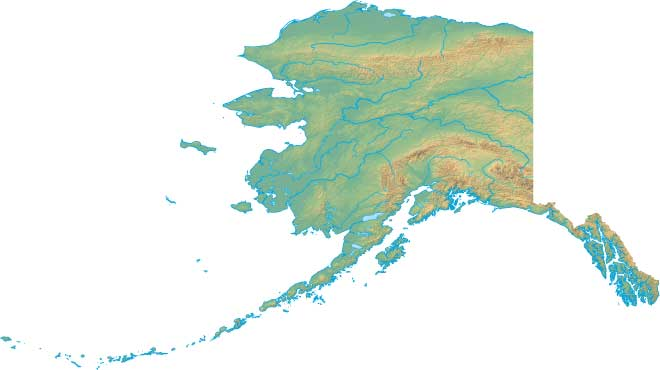 This Alaska map page features a relief map of Alaska.