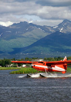 floatplane at lake hood seaplane base, anchorage, alaska