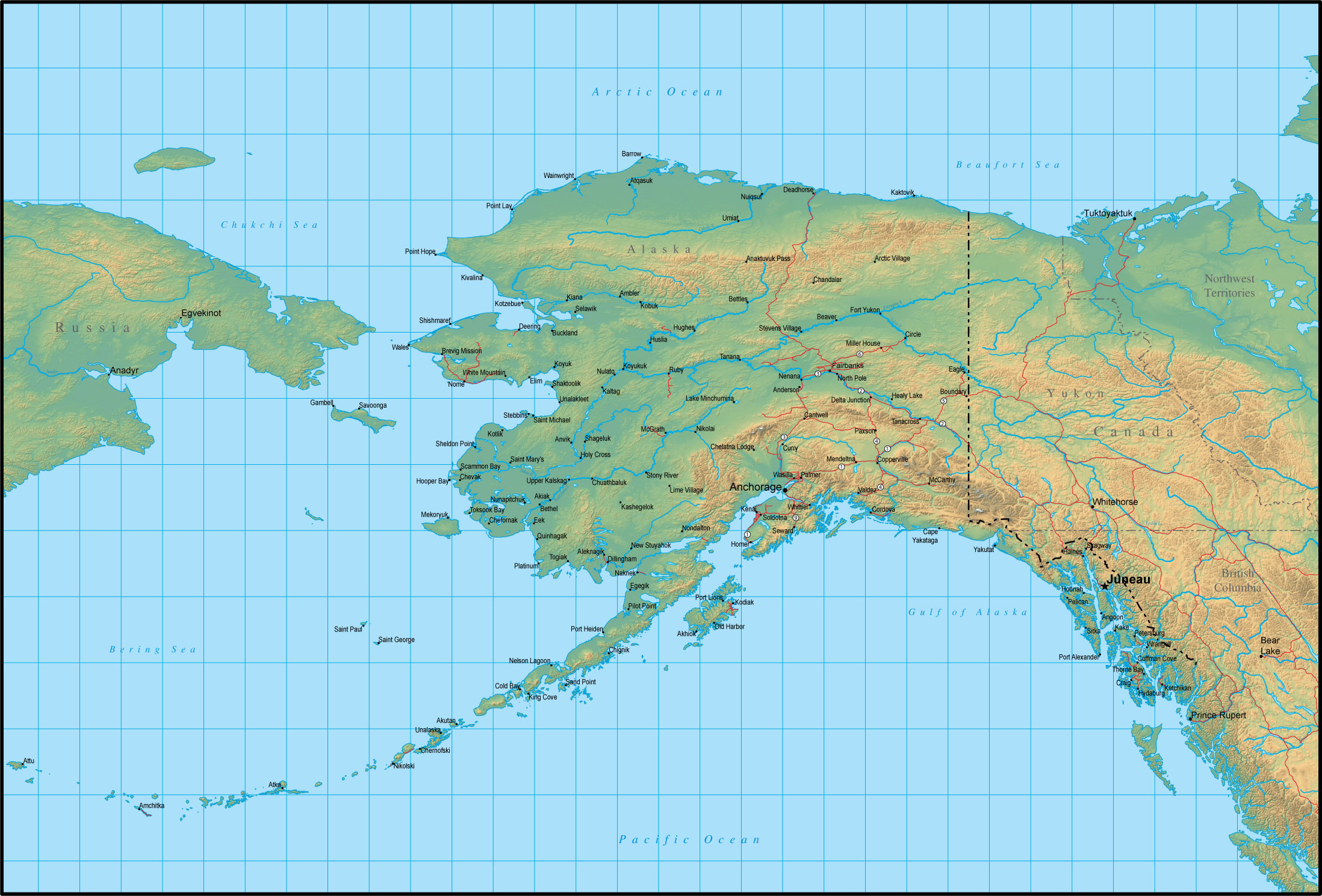 Map Of Alaska And The Surrounding Region
